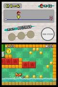 Mini-Mario kan sk�jte p� vandoverfladen og hoppe langt, da han falder langsomt. Bem�rk m�nternes placering - ja, Mario kan nu tage afs�t p� v�ggene.