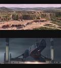 �verst: Ankomst p� Naboo. Indrammet er to rumskibe, som minder meget om Tusind�rsfalken. Nederst: Nogen f�r d�ren i hovedet. Det har vi set f�r...