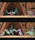 Stadiegennemgang af en scene fra Geonosis. �verst: Den f�rste skitse af animationen laves p� en meget simpel model. Nederst: Her er modellerne t�ttere p� det endelige resultat.