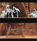 Stadiegennemgang af en scene fra Geonosis. �verst: Den endelige model helt i hvidt. Nederst: Modellerne i de rigtige farver.