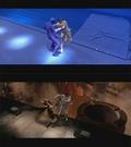�verst: Natalie Portman k�mper med en stor sm�lf. Nederst: Sm�lfen fjernes, s� Princesse Amidala kan blive skubbet i en k�mpe smeltedigel af en f�l alien.